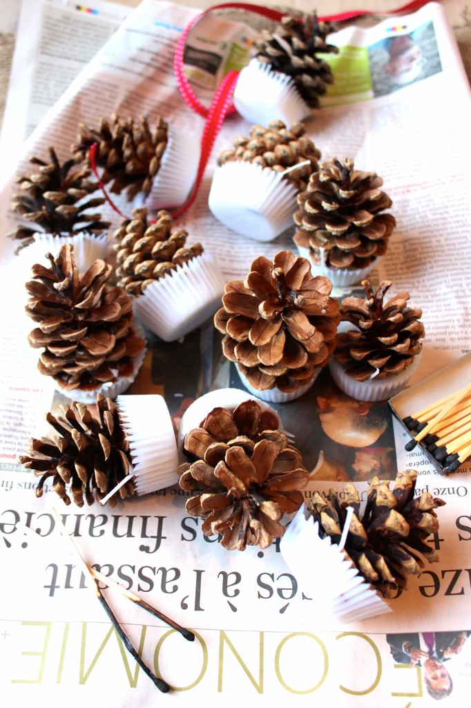 DIY Pinecone firelights