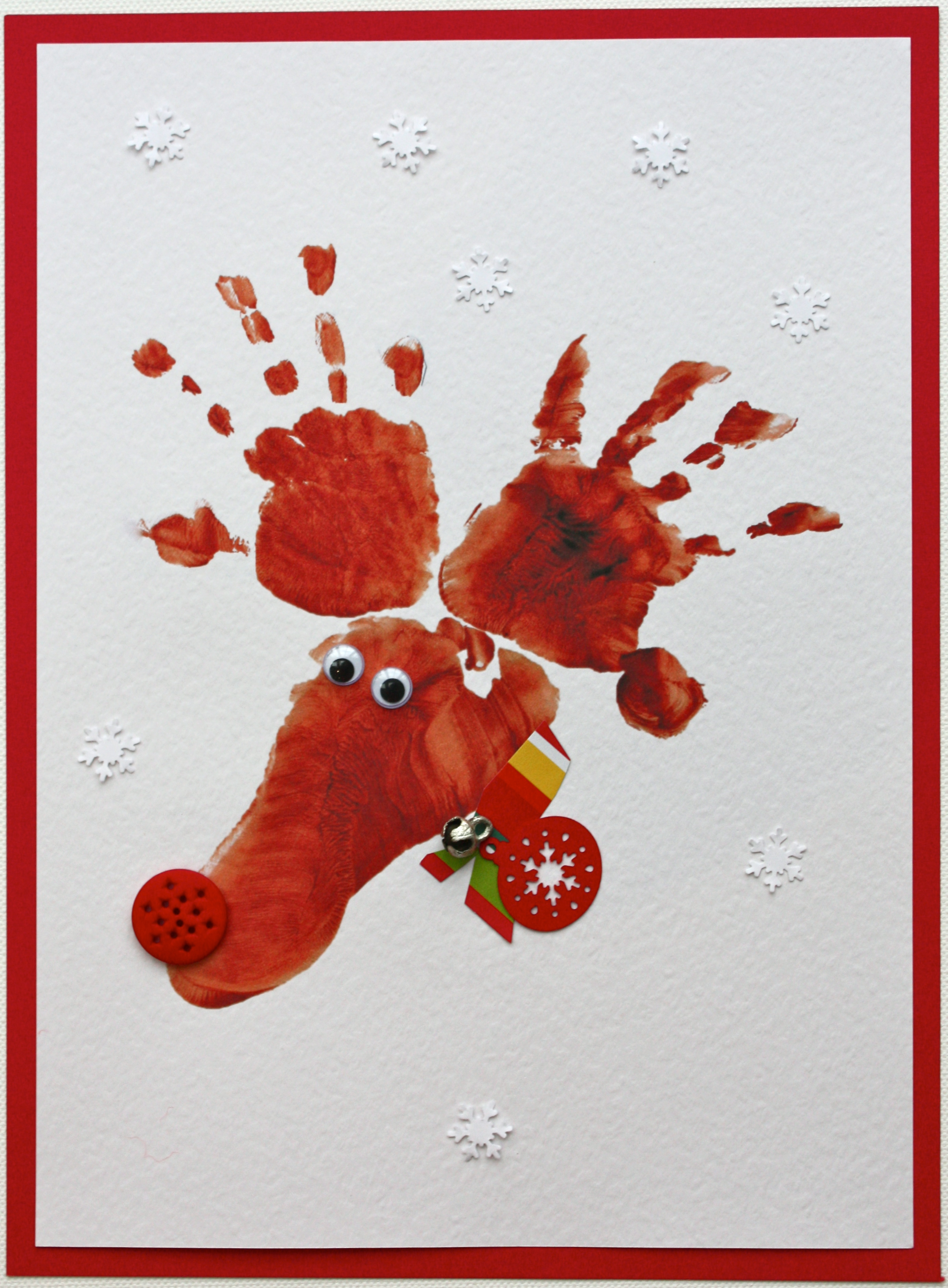 hand footprint reindeer cards