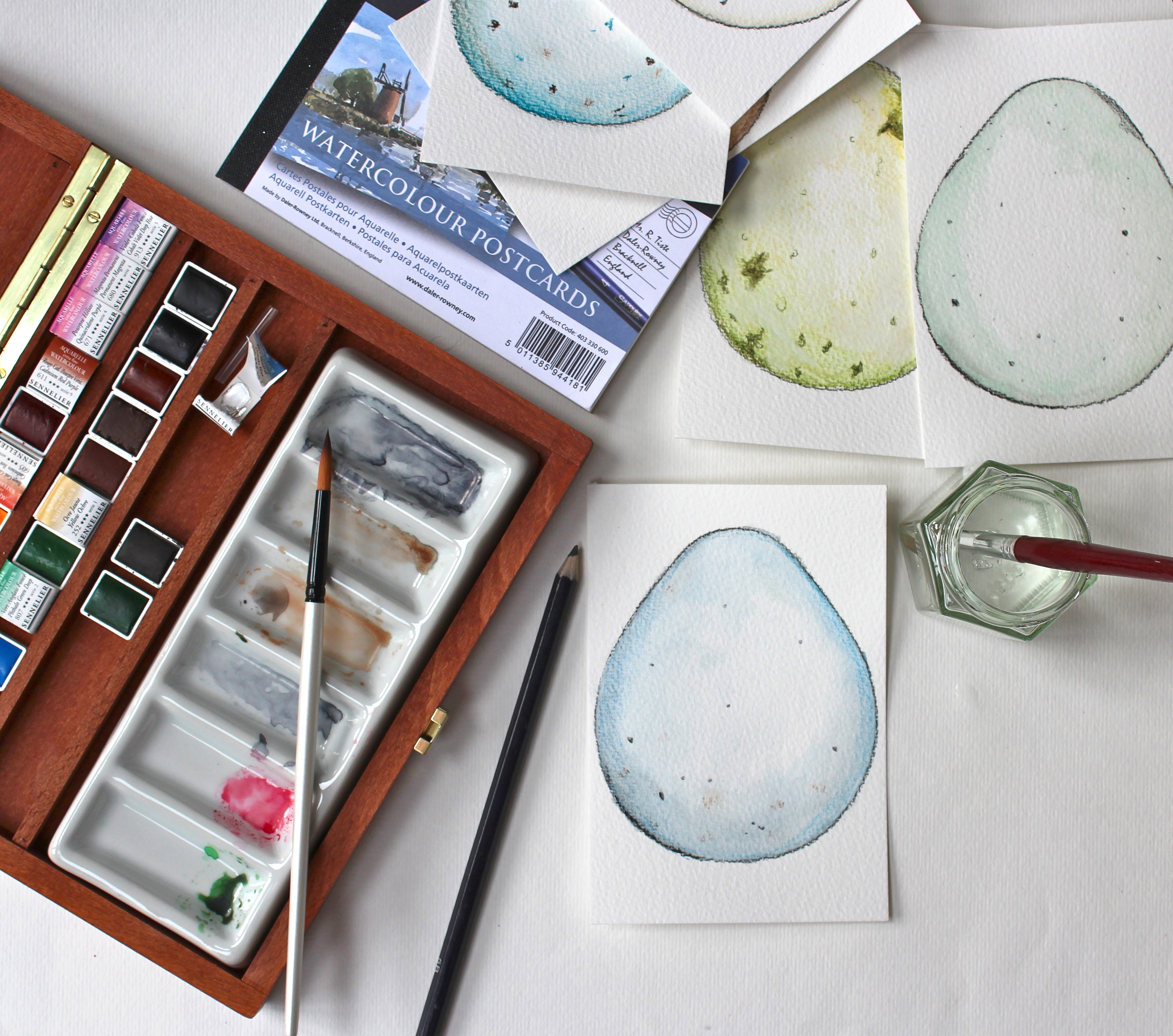 watercolour eggs