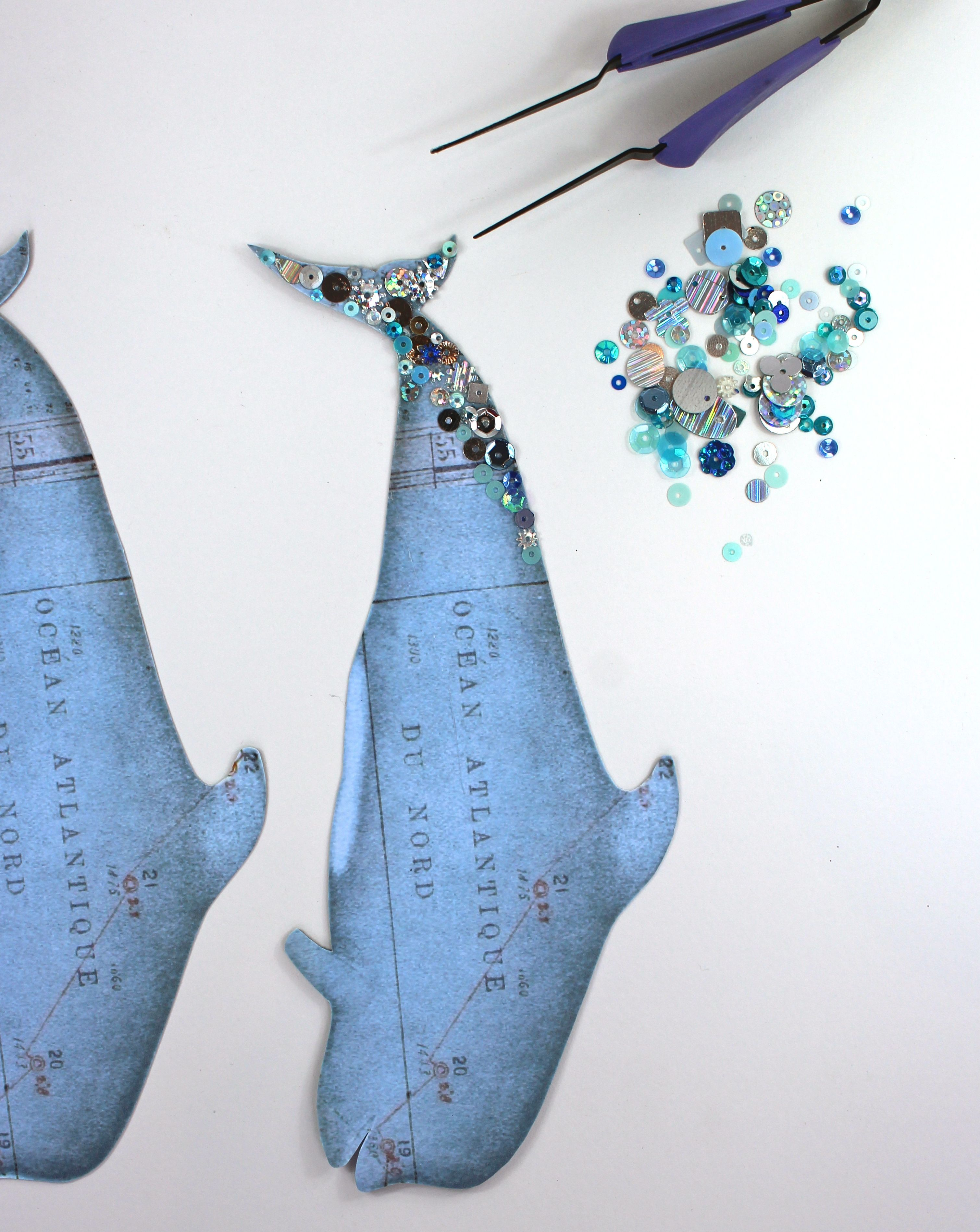 whale gift tags with sequins
