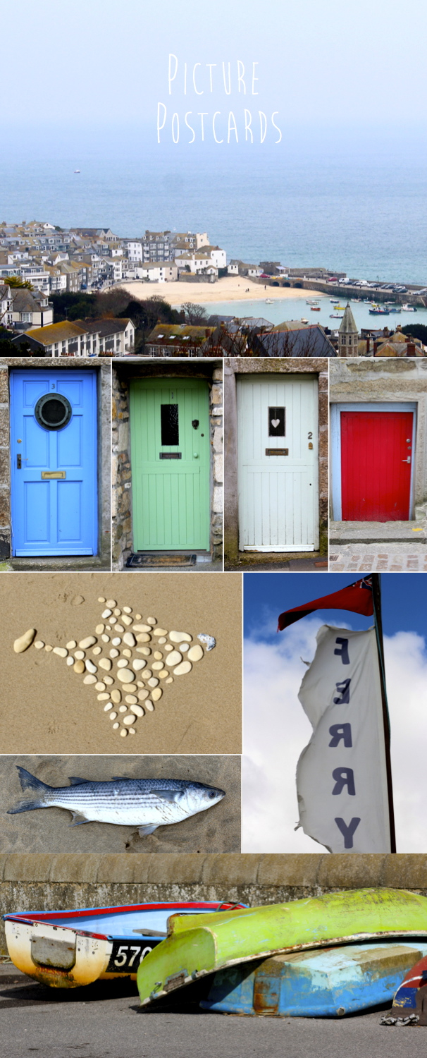 vibrantly coloured doors of houses and seaside photographs