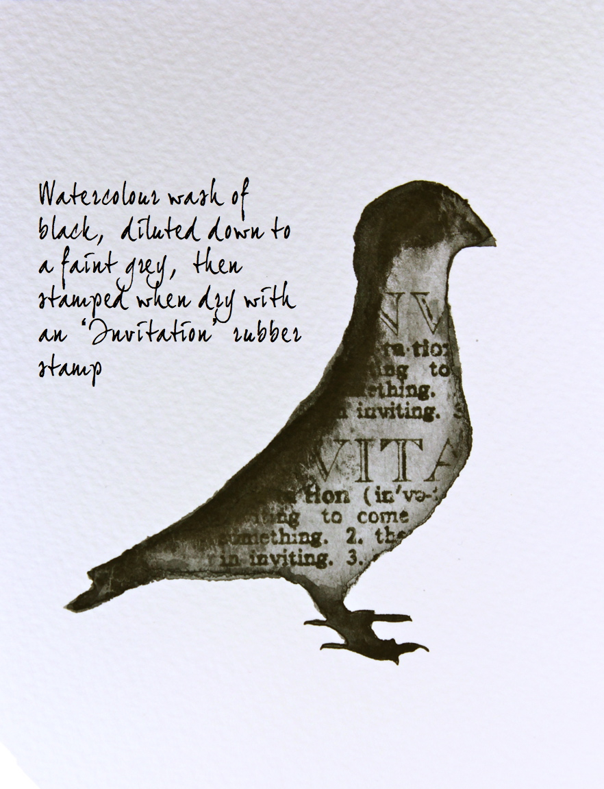 watercolour pigeon with stamping