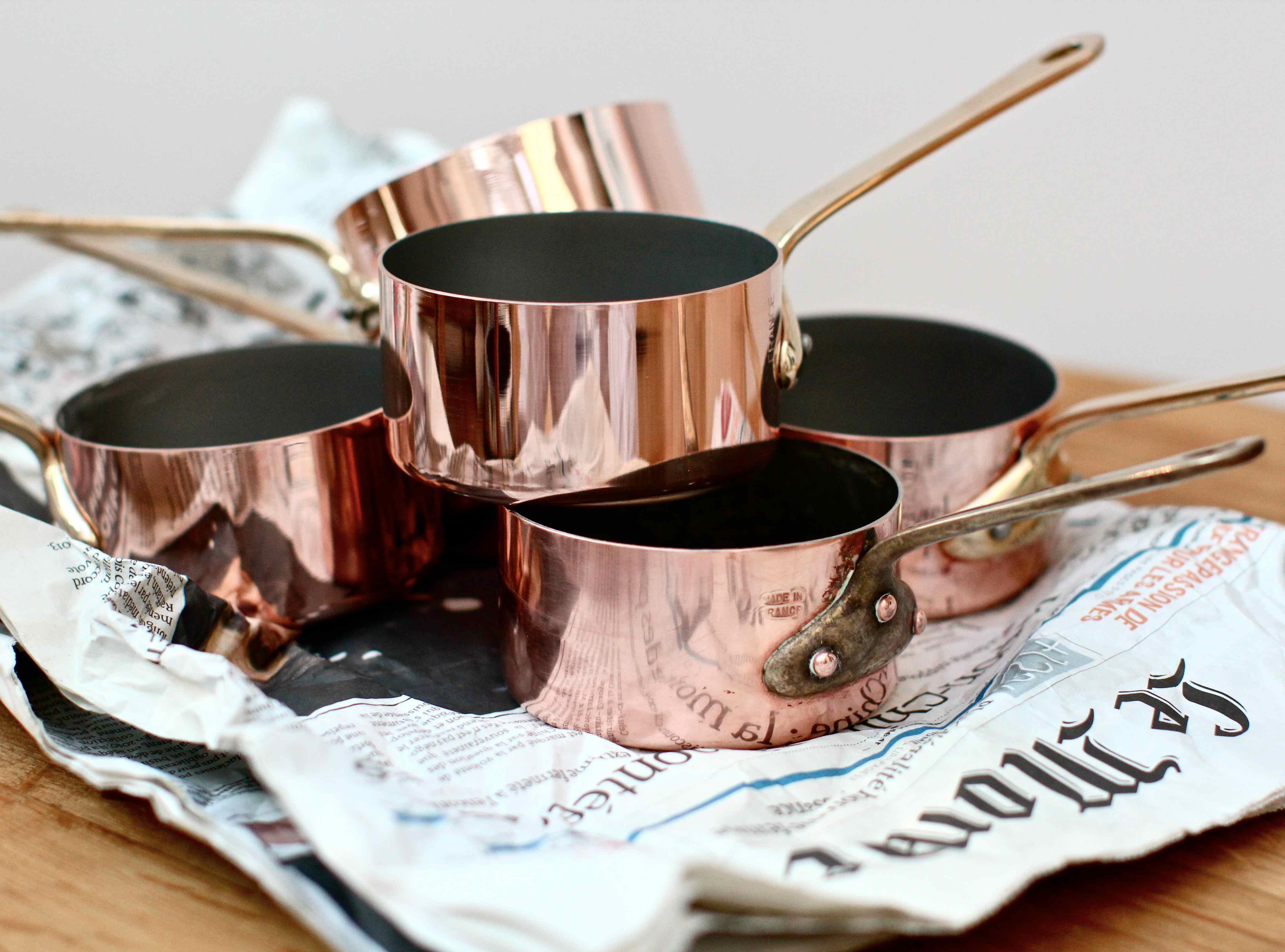 brocante copper pans