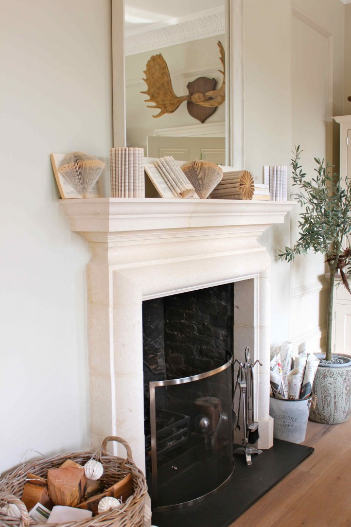 books on fireplace