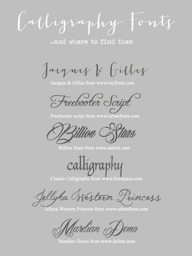 Calligraphy Fonts Sourcesheet
