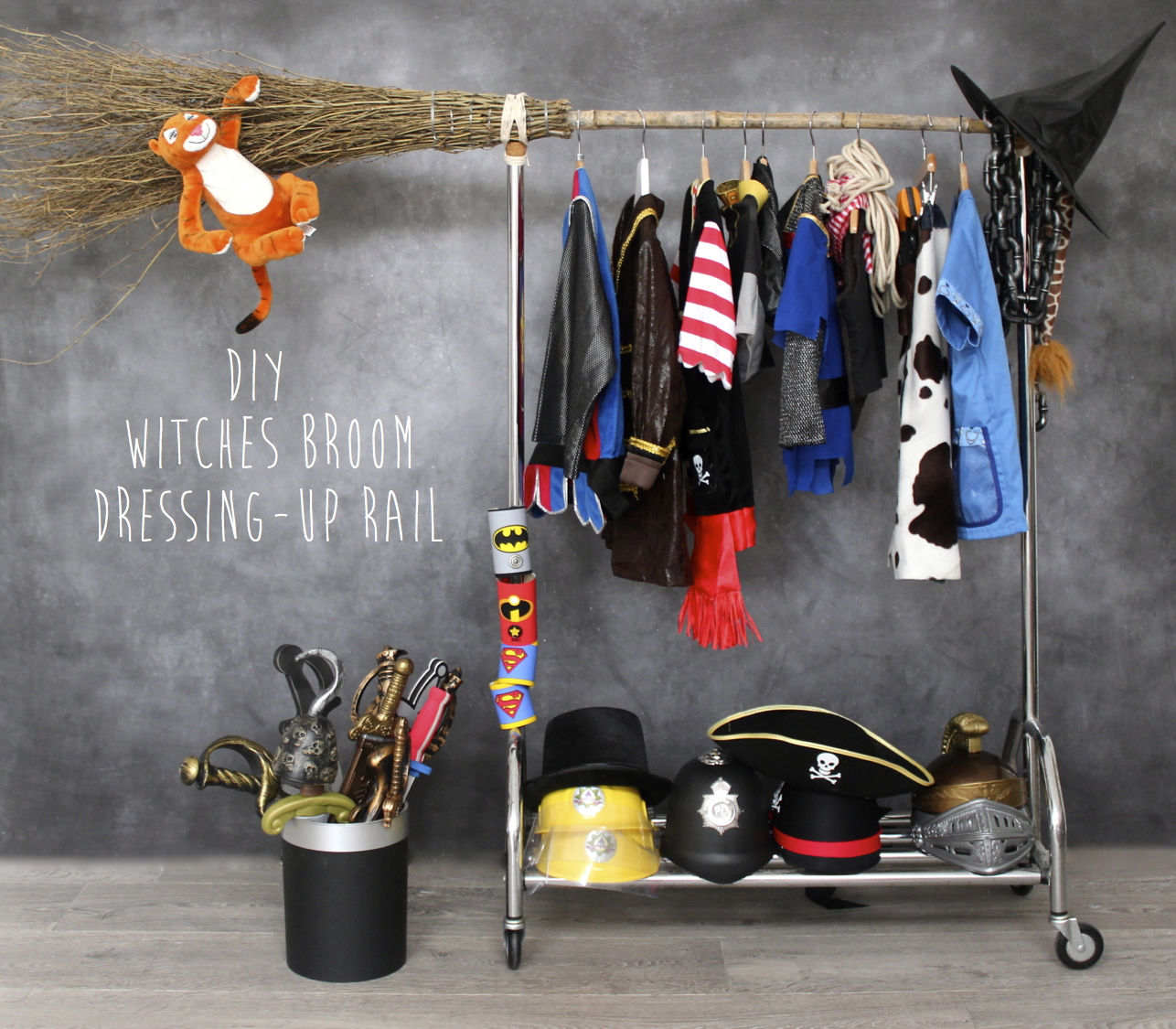 DIY Witches Broom Dress Up Rail