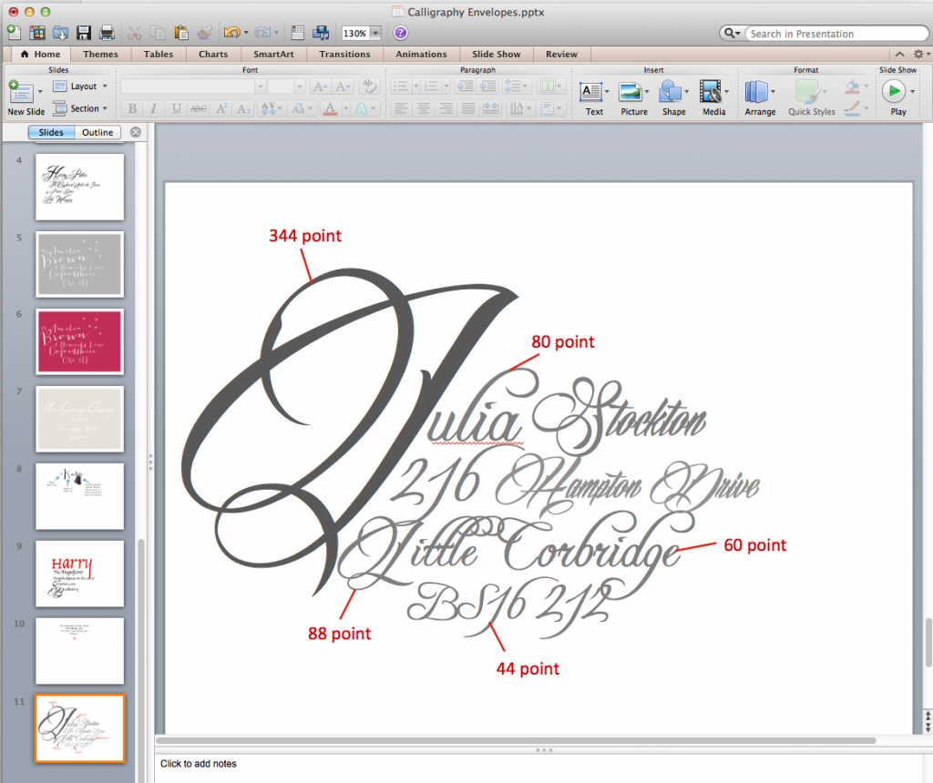 Calligraphy font sizes