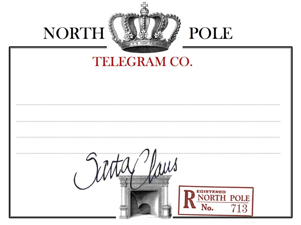 Blank North Pole telegram 2013