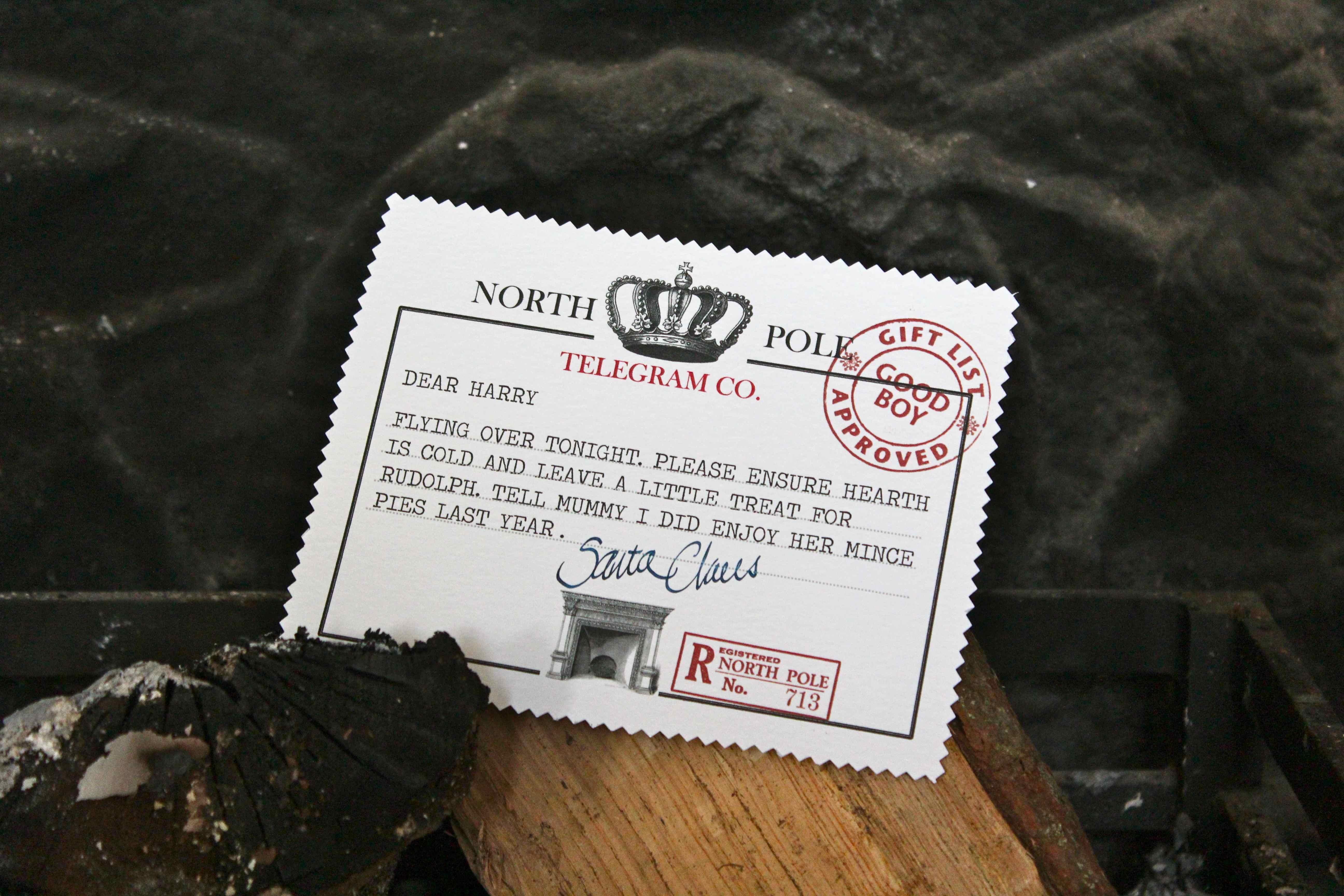 Printable north pole telegram north pole telegram in the grate spiritdancerdesigns Choice Image