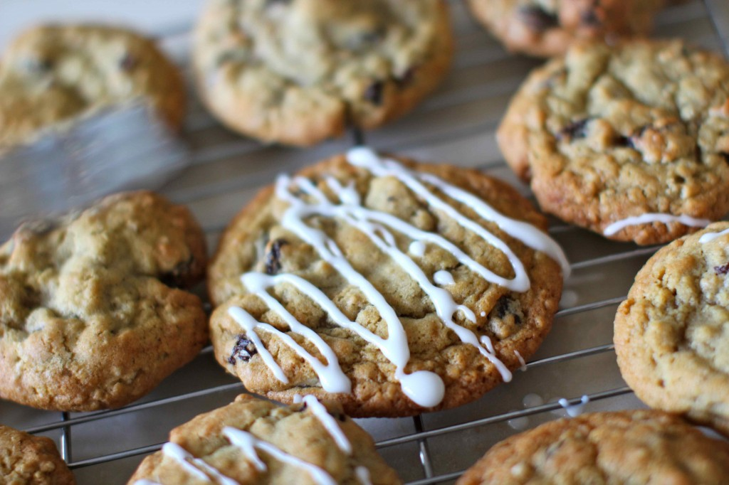 cookies with drizzled icing