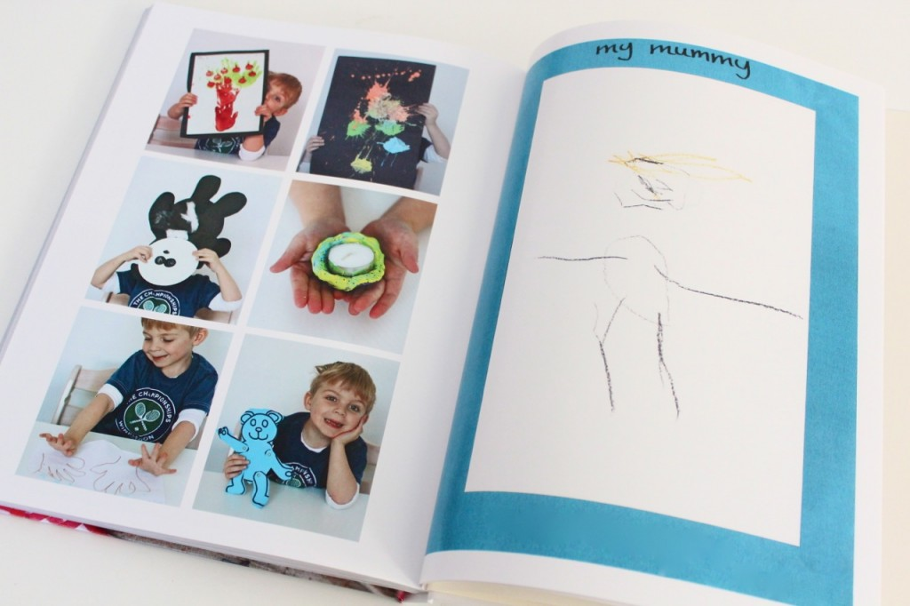 Childrens artwork gallery in a family yearbook