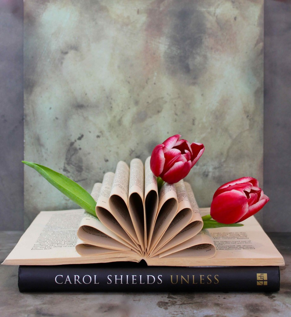 tulips in book pages