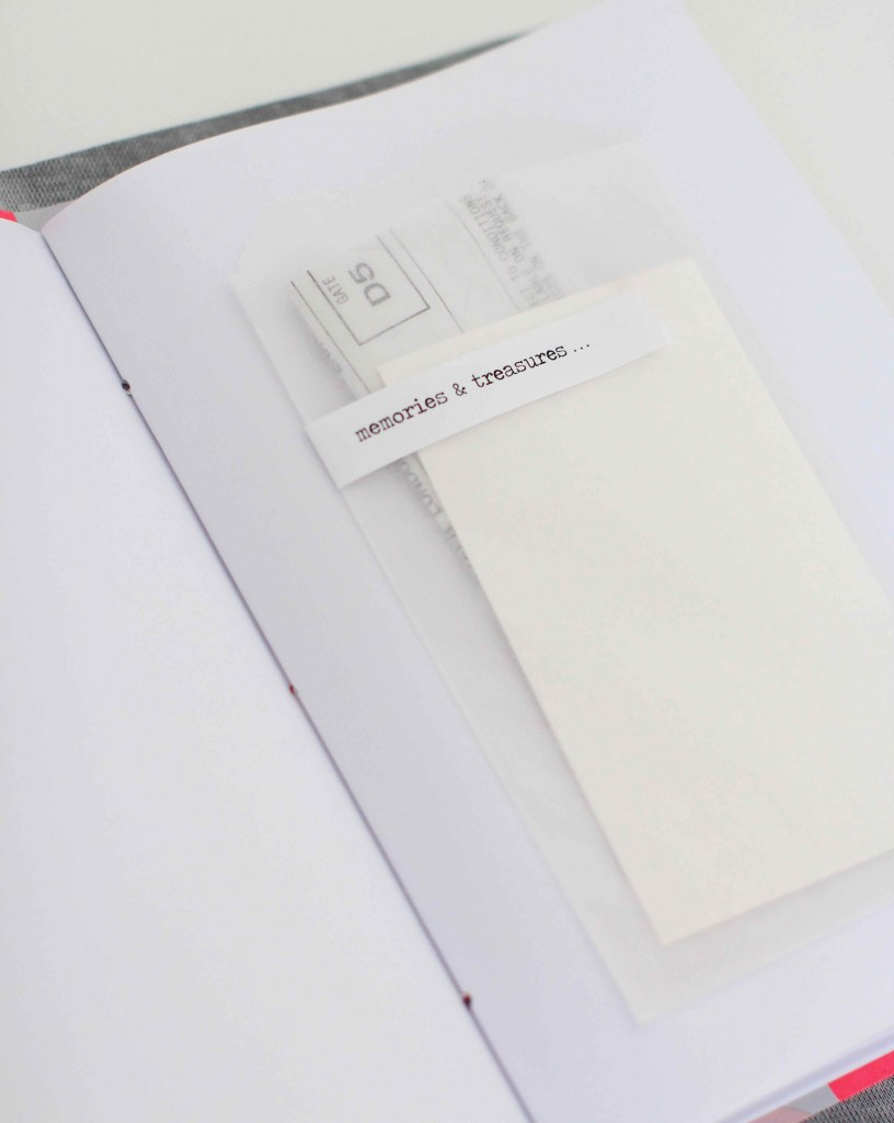 Travel journal with vellum envelopes
