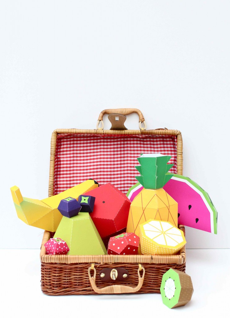 Paper Fruit Picnic Basket