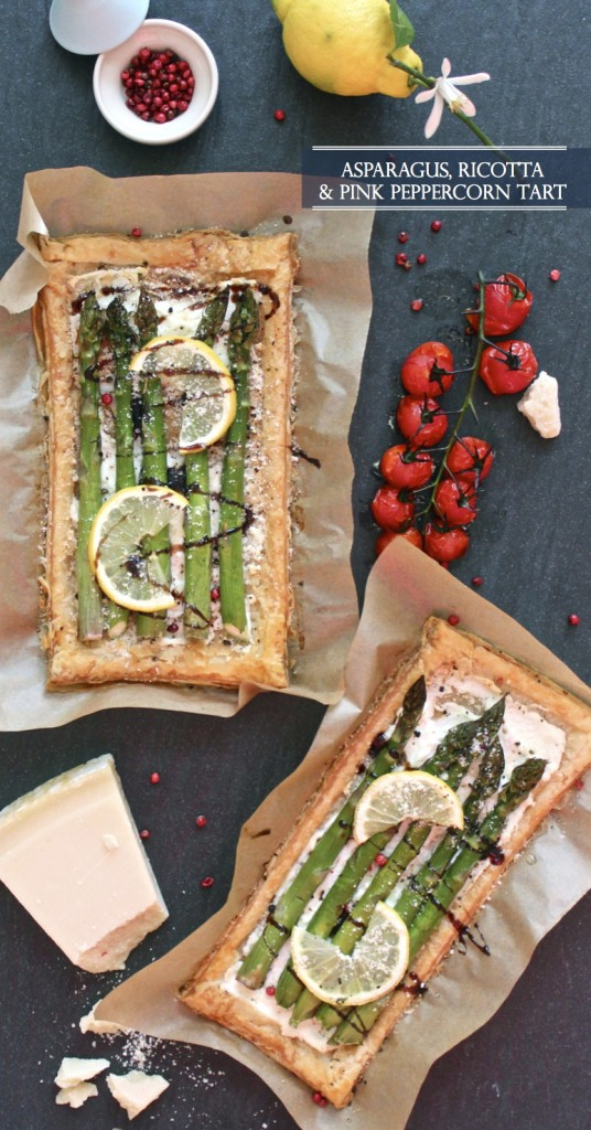Asparagus Ricotta and Pink Peppercorn Tart