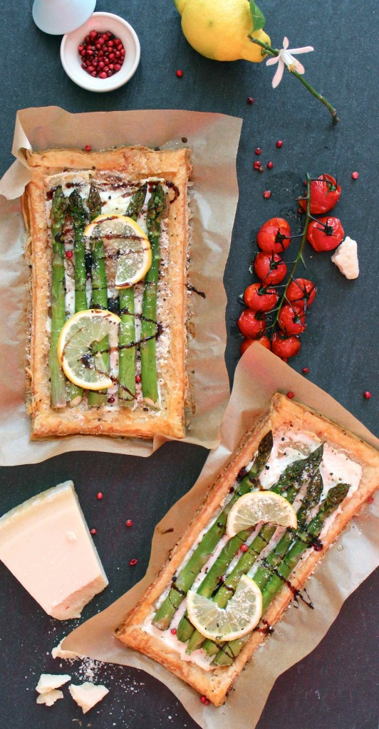 Asparagus and lemon tarts