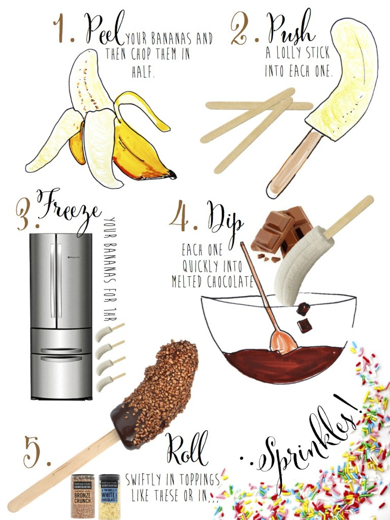Choc dipped frozen banana recipe