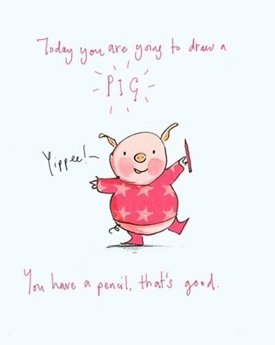 Polly Dunbar draws pigs