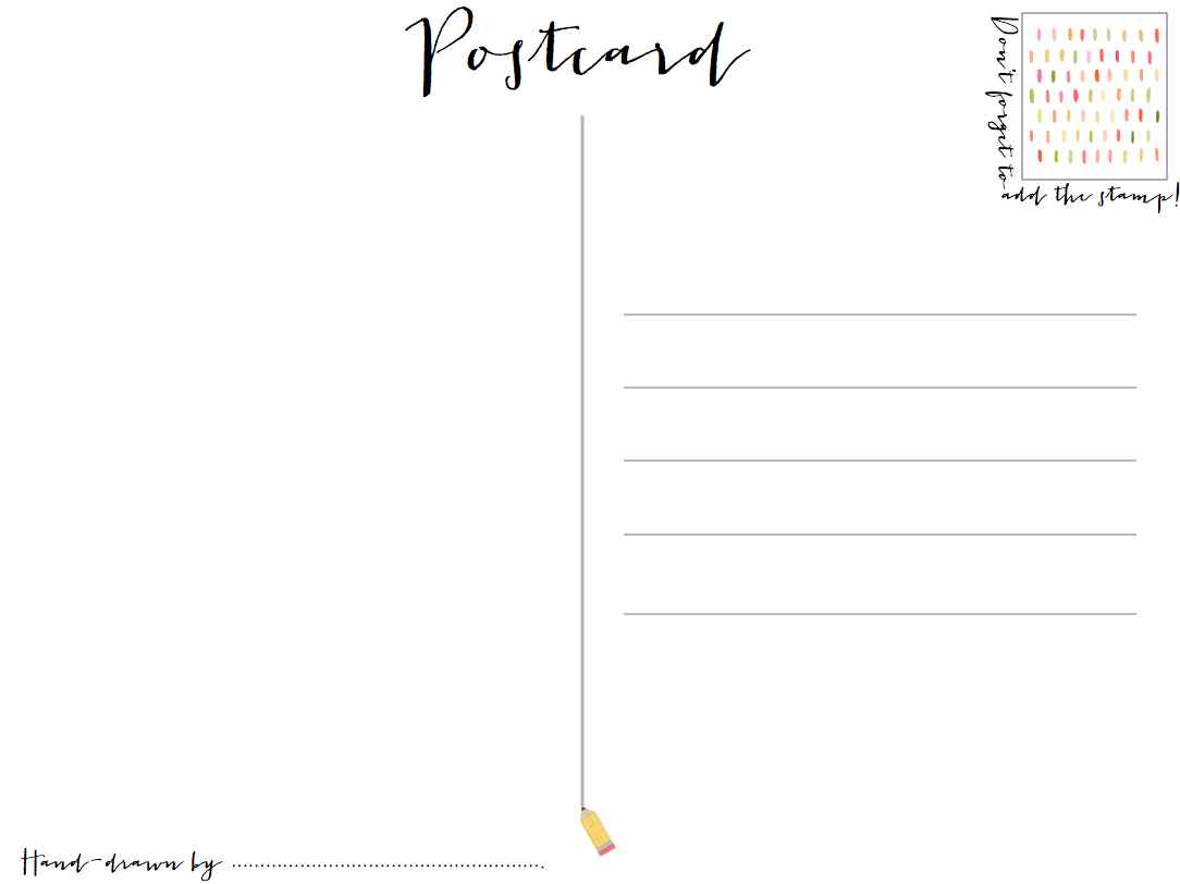 Hand drawn summer postcards and inspiring illustrators for Backside of postcard template