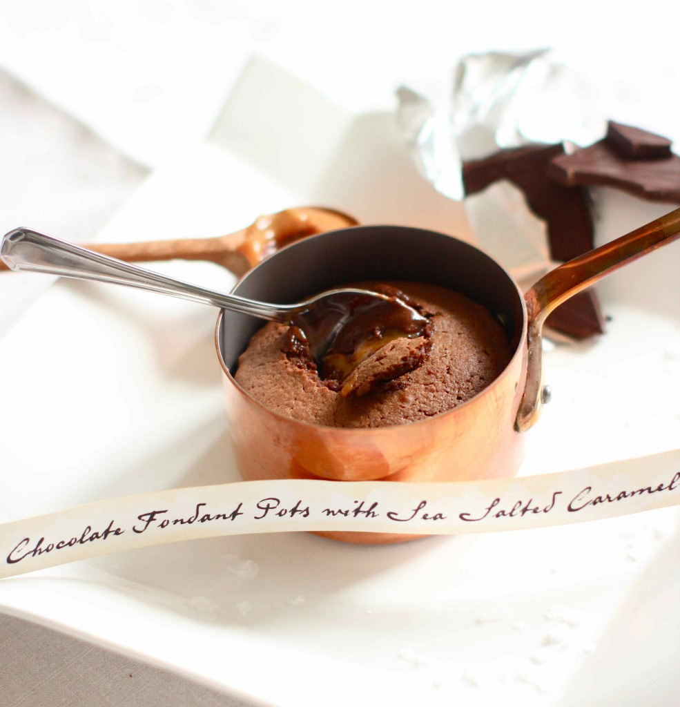 chocolate fondant pots with seasalt caramel sauce