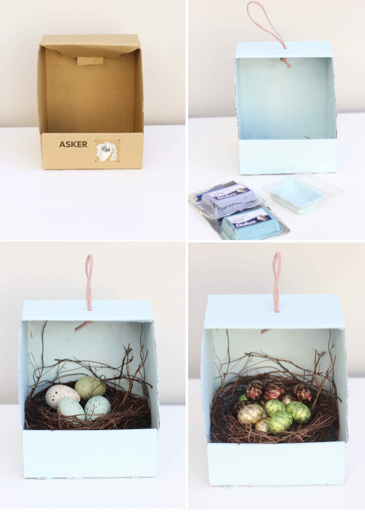 Repurposing cardboard boxes for cute Easter nests