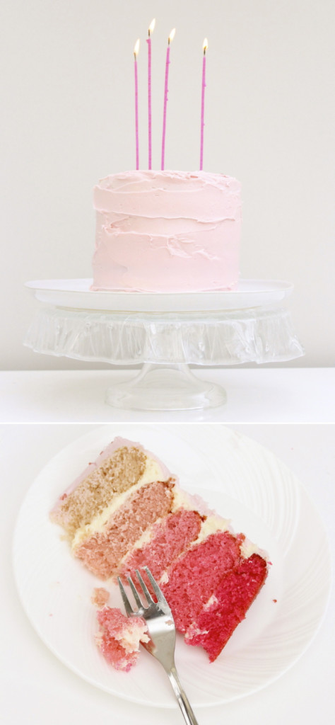Rose ombre layer cake
