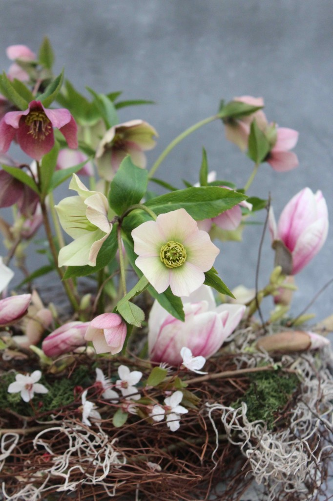 Winter hellebore arrangement