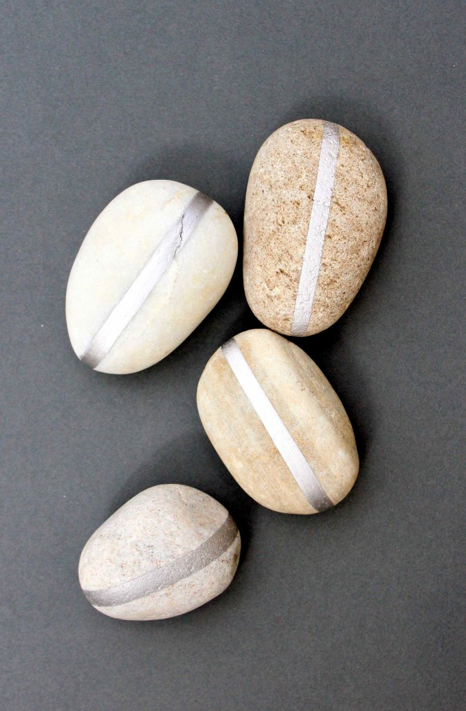 DIY Silvered pebbles
