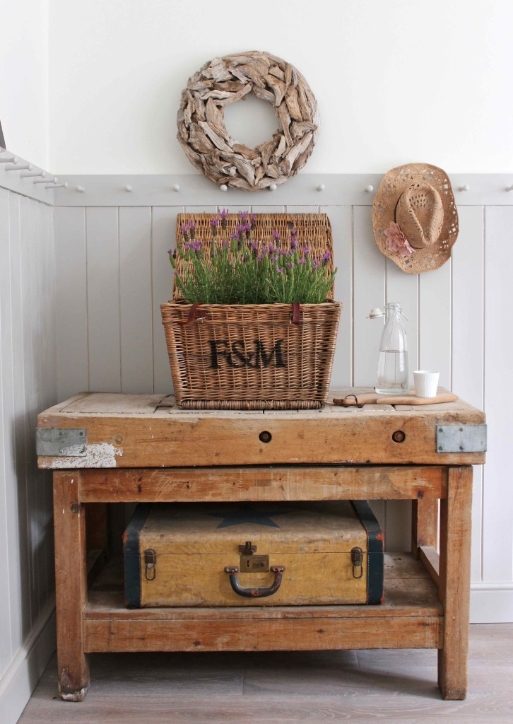 Lavender basket and old butchers block