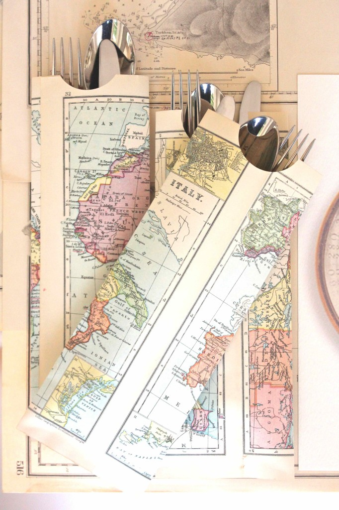 Use maps to make cutlery pockets