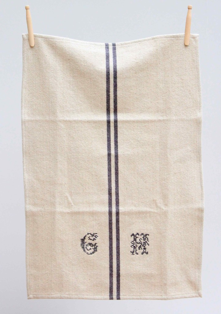 French linen monogram tea towel