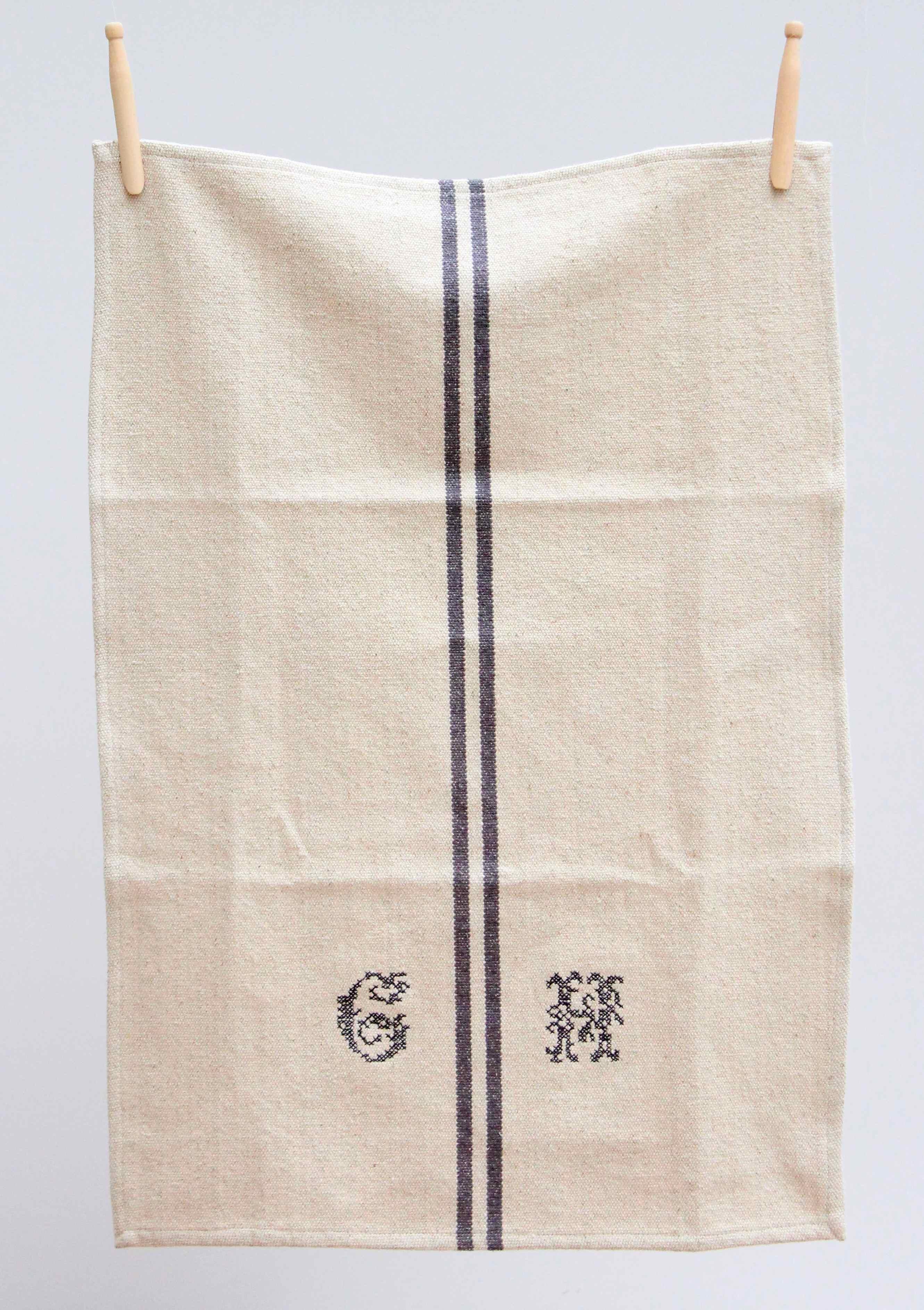 French Linen Monogram Tea Towel