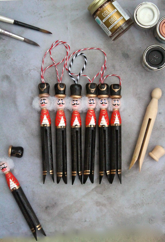 A set of DIY Nutcracker peg dolls