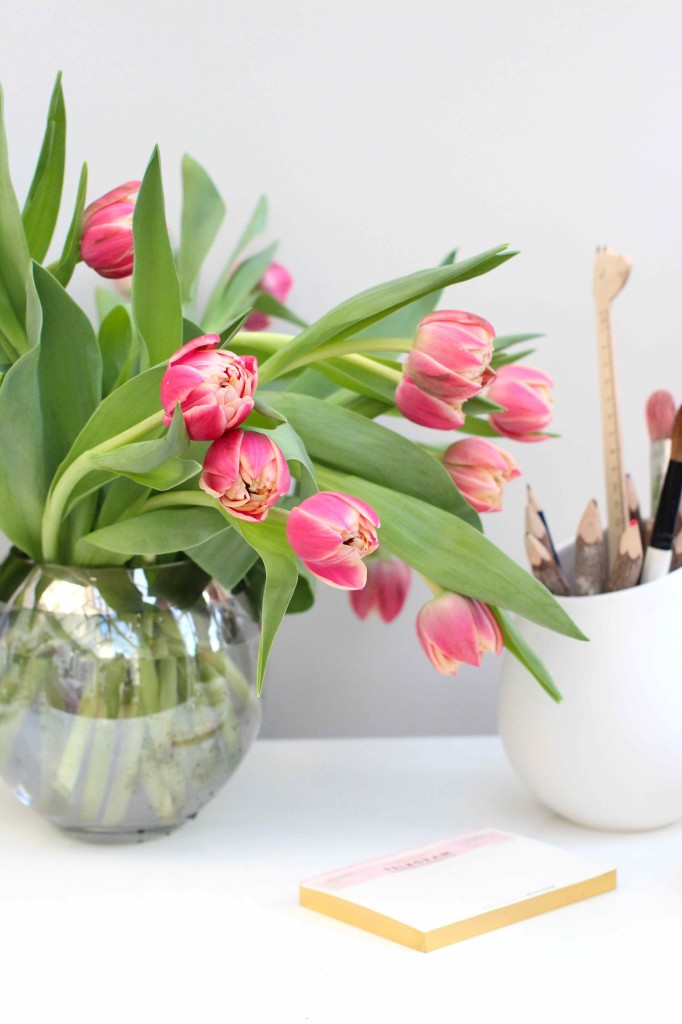A bowl of spring tulips