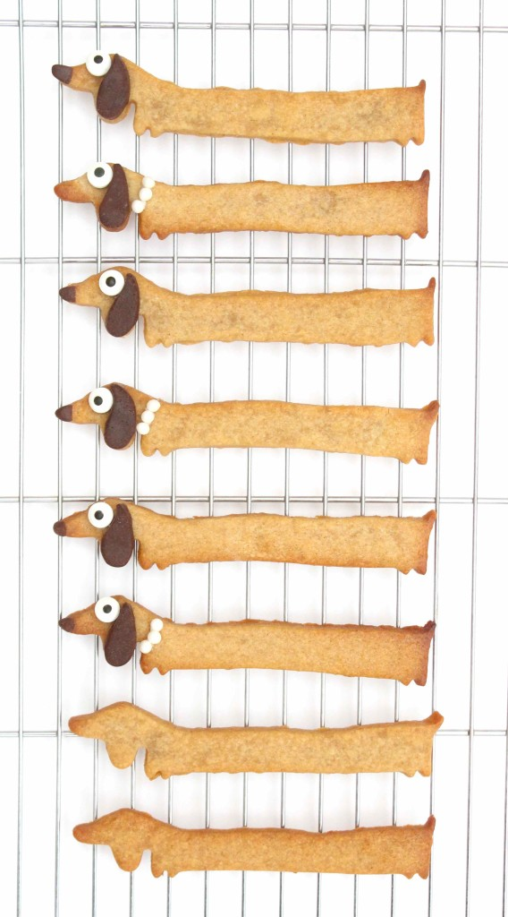 A tray of sausage dog cookies