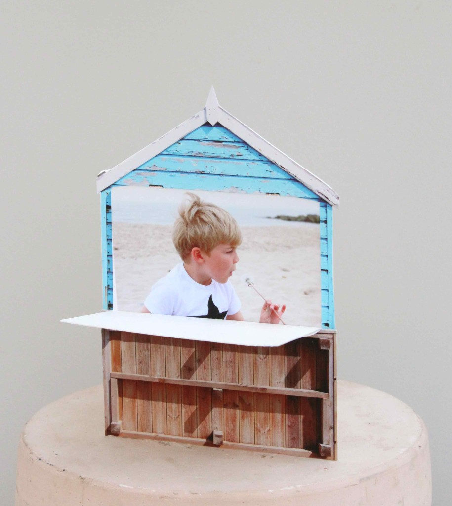 Beach hut photo card