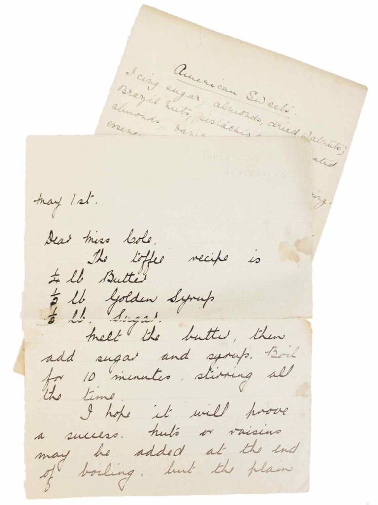 vintage letter with recipes