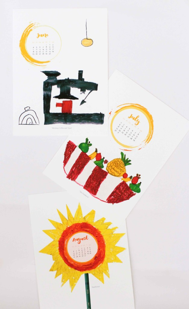 DIY Kids Art desk calendar