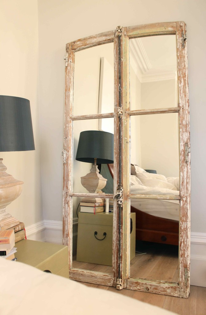 Old French windows turned into a mirror