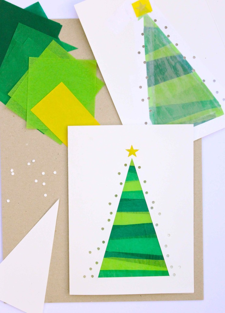 Christmas tree stained glass effect cards