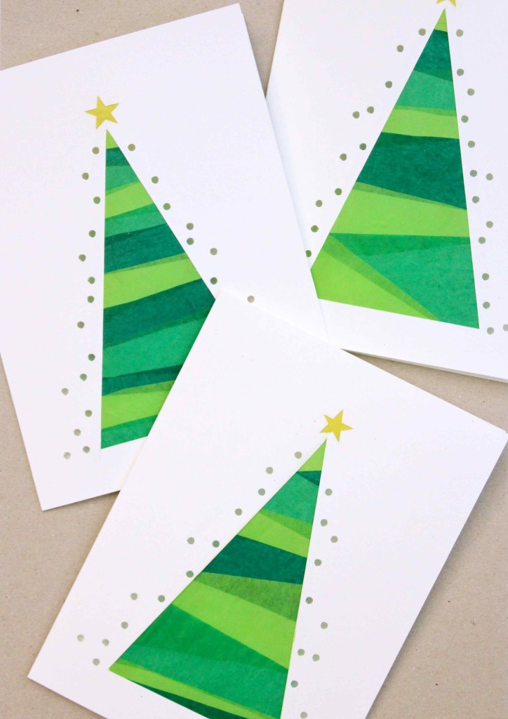 Christmas tree tissue cards