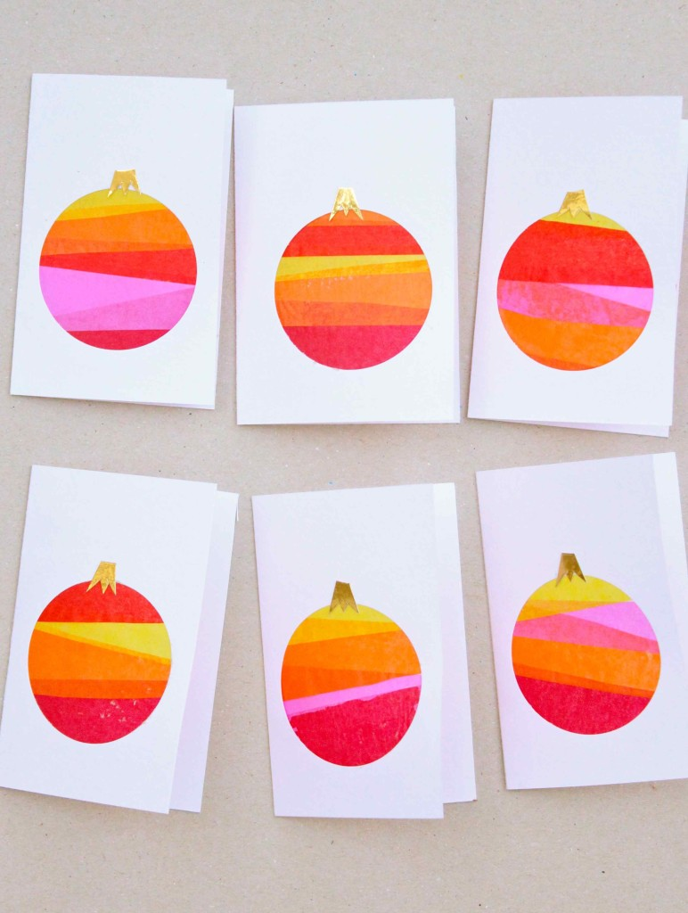 Stained glass bauble cards