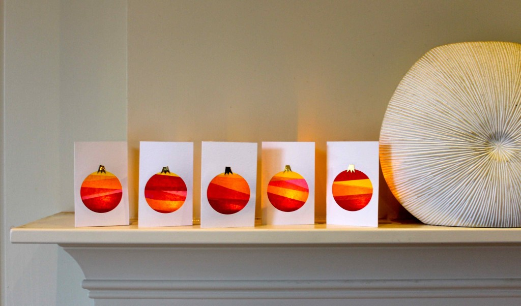 Tissue paper bauble holiday cards