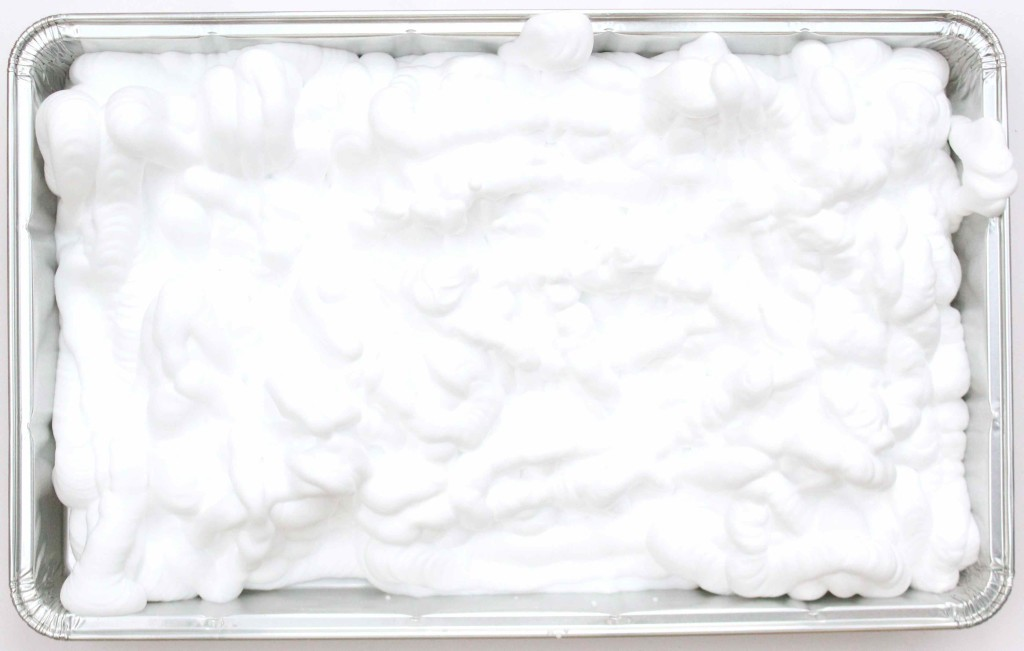 Foil tray filled with shaving foam (DIY marbled paper)
