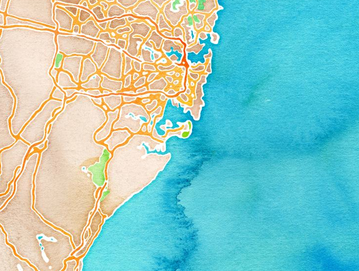 Sydney Habour watercolour map