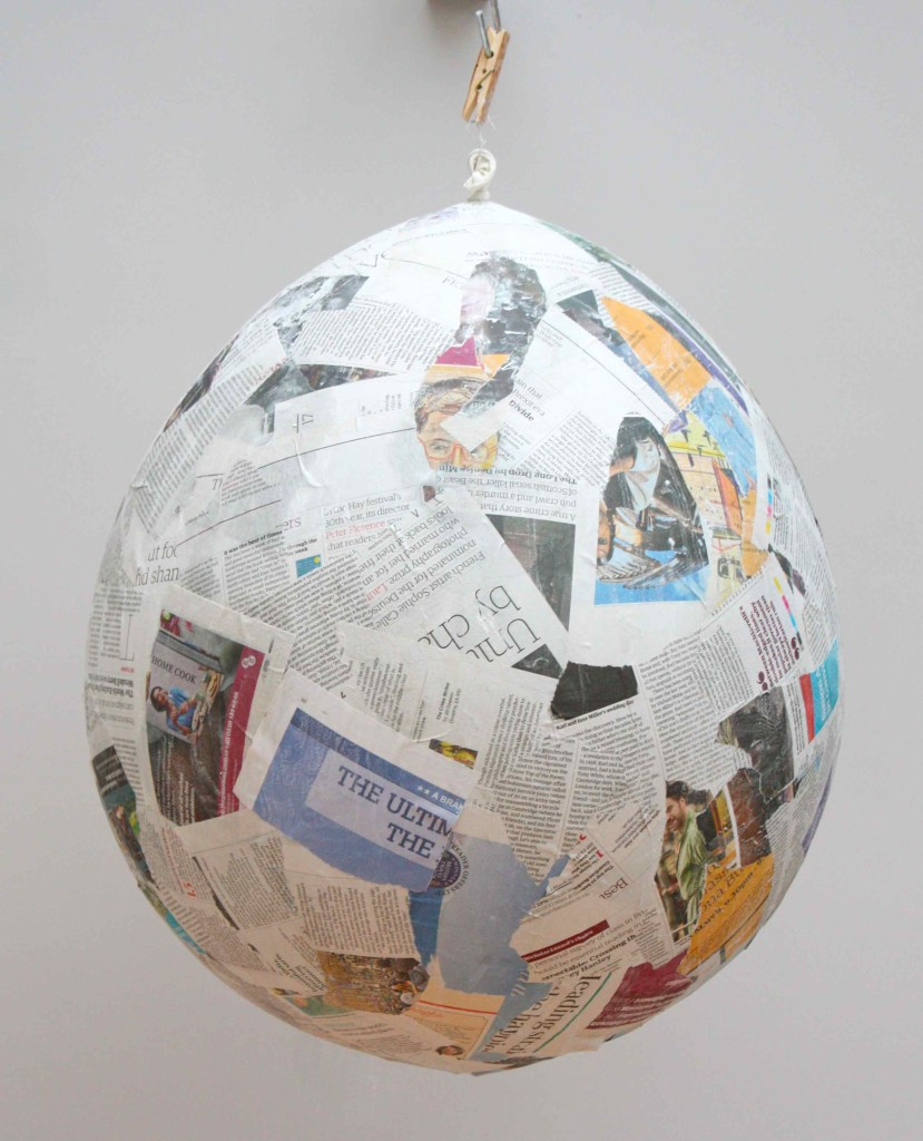 Paper mache balloon egg layer 1