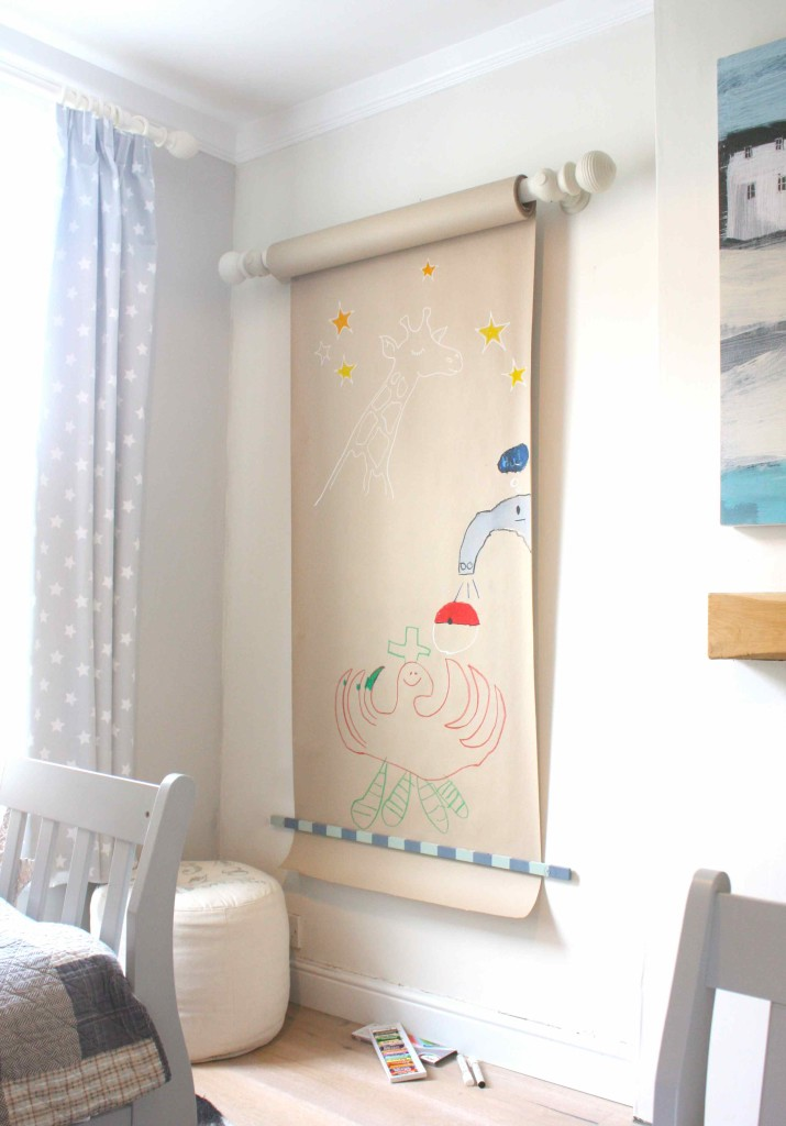 Family art wall in a kids bedroom