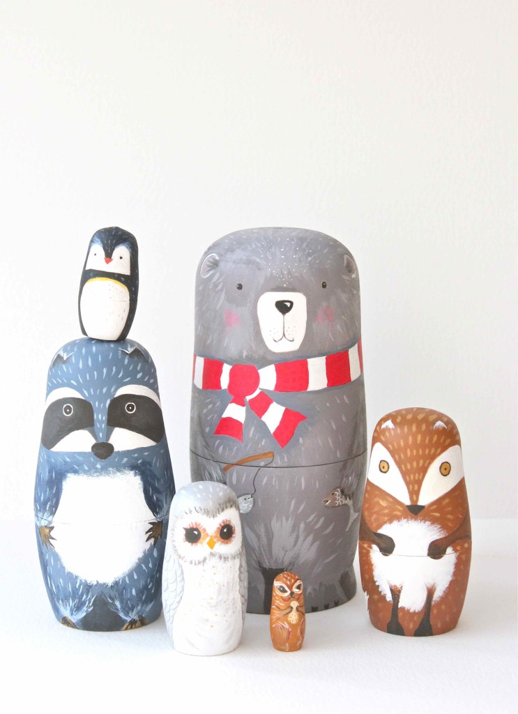 DIY winter animal matroyshka dolls