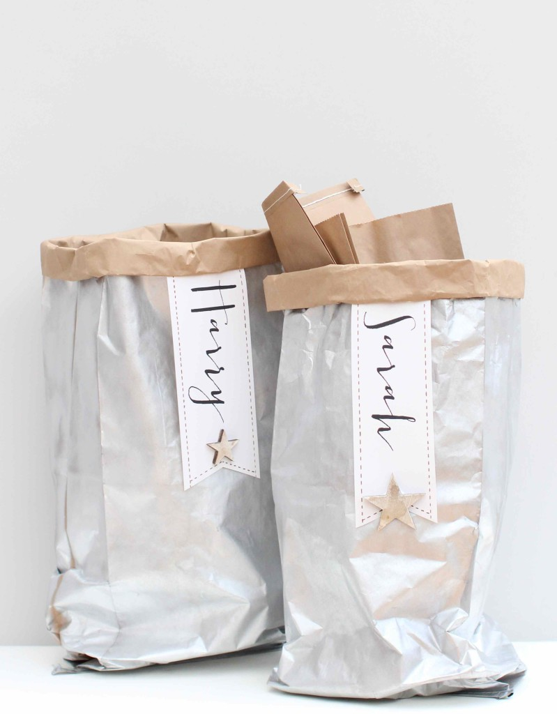 Silver-sprayed paper bags for holiday gift sacks