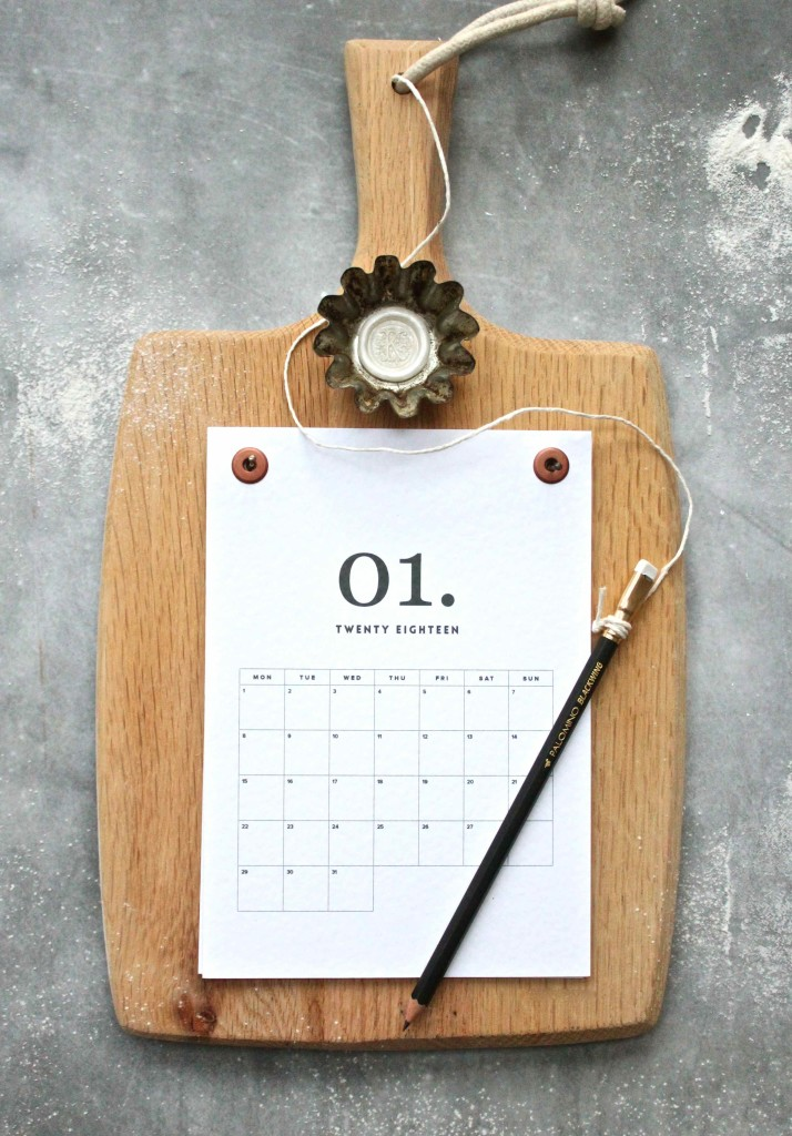 Cooks calendar with pencil